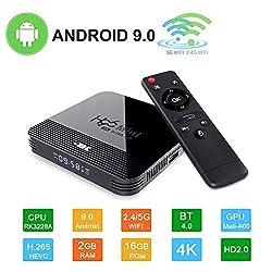Android 9.0 Mini TV-Box H96 TV Box RK3328A Smart Media-Box 2 GB + 16 GB Support 4K 2.4/5G WiFi 3D Ultra HD H.265 USB 2.0 BT 4.0 100M Ethernet, Quad-Core Cortex A7 CPU Video-Play-Box