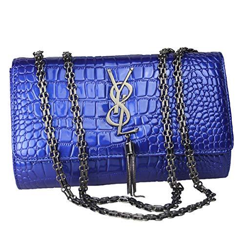 SHRJJ 2018 Mädchen Mode Eine Schulter Crossbody Kette Python Muster Kleine Tasche Großer Raum Baby-Wickeltasche Für Frauen (26 * 7 * 17CM, Blau 2(Y8L Logo-Leder)) - Python-leder-schulter-handtasche