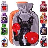 Wärmflaschenbezug 1L, mit und ohne Wärmflasche 1 Liter, Auswahl: Franz. Bulldogge, mit Wärmflasche
