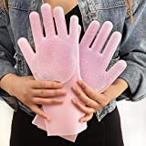 Kshavi Heat Resistant Scrubber Gloves Cleaning Sponge Gloves Reusable Silicone Brush for Dish Washing Kitchen Bathroom Cleaning Pet Bathing Car Washing