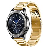 Teepao For Samsung Gear S3 Frontier/Classic Band, Gear S3 Bands 22mm Premium Solid Stainless Steel Watch Replacement Strap With Buckle Length Adjustable for Gear S3 Classic/Frontier