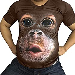 Fenverk Herren Unterhemd Tank 3D Top Classic Mens Short Sleeve Premium Ring Spun T-Shirt Tee Basic Rundhals Slim Fit(Kaffee,XL)