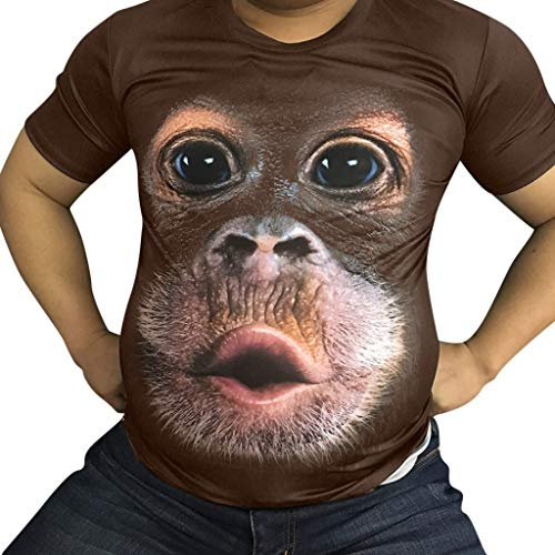 Fenverk Herren Unterhemd Tank 3D Top Classic Mens Short Sleeve Premium Ring Spun T-Shirt Tee Basic Rundhals Slim Fit(Kaffee,XXXL)
