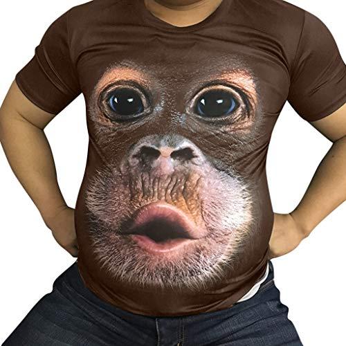 Fenverk Herren Unterhemd Tank 3D Top Classic Mens Short Sleeve Premium Ring Spun T-Shirt Tee Basic Rundhals Slim ()