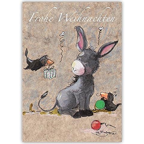 1er Set Süße Weihnachtskarte mit kleinem Esel und Geschenke Raben, innen blanko/ weiß auch schön als Weihnachtsgrüße geschäftlich / Firmen Glückwunsch zu Neujahr / Unternehmen Weihnachtskarte für Kunden, Geschäftspartner, Mitarbeiter: frohe Weihnachten