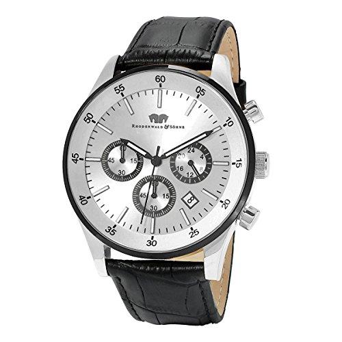 Rhodenwald & söhne goodwill orologio da uomo cronografo acciaio inossidable braccialetto in cuoio ipb s