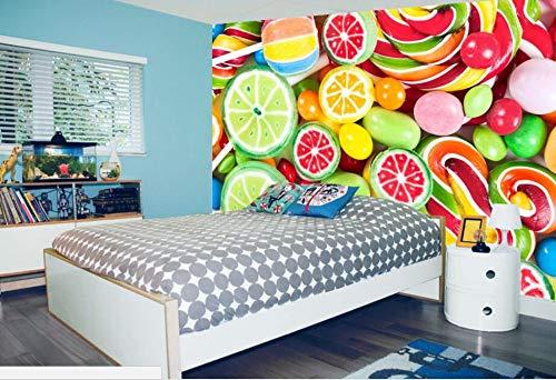 WORINA Fototapete 3D Continental Fototapete Hintergrund Farbe Süßigkeiten Bunte Lutscher Süßigkeiten 3D Tapete Malerei, 430x300 cm