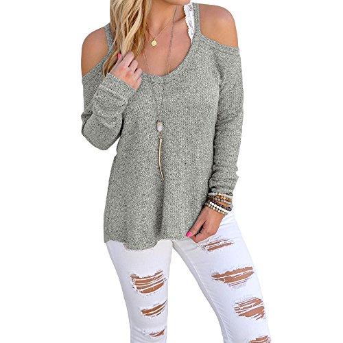 Uranus Damen Kalte Schulter Stricken Lange Ärmel Zur Seite fahren Sweatshirt Oberteile Bluse Tunika (XL, Grau) (Pullover Tunika Schulter)