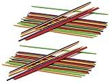 com-four® 2X Mikado Spiel-Set in bunten Farben, Gesellschaftsspiel für die ganze Familie (002 Stück - Mikado Kunststoff)