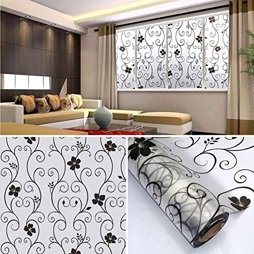 Cover Glass Window - Sweet Frosted Privacy Cover Glass Window Door Black Flower Sticker Film Adhesive Home Decor Tb - Screen Cover Privacy Panel Glass Film 24x72 Window Windows Frosted Bedroom -