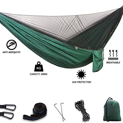 WCBDUT Ultraleichte Moskito Netz Reise Camping Hängematte | 440lbs Tragkraft, Schnell Trocknende Fallschirm Nylon Camping Hängematte für Trekking, Strand, Garten, Outdoor(Dunkelgrün)