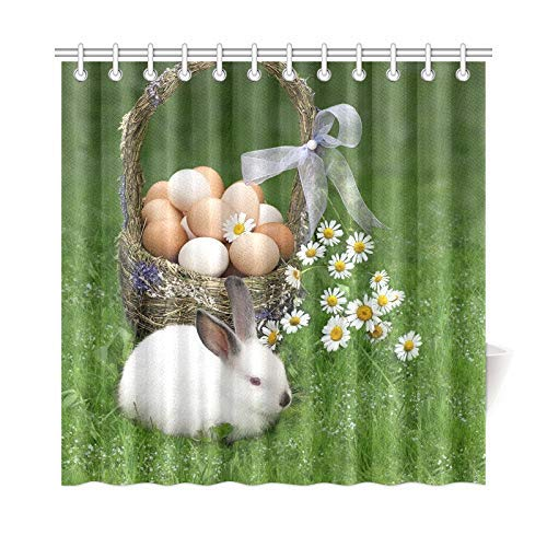 ath Curtain Easter Basket Eggs Easter Bunny Polyester Fabric Waterproof Duschvorhang for Bathroom, 72 X 72 Inch Duschvorhangs Hooks Included ()