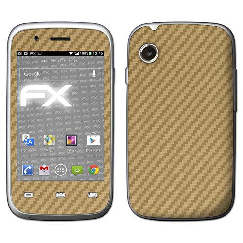 atFolix Skin kompatibel mit Wiko Ozzy, Designfolie Sticker (FX-Carbon-Gold), Carbon-Struktur/Carbon-Folie
