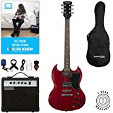 Stretton Payne SG Electric Guitar with practice amplifier, padded bag, strap, lead, plectrum, tuner, spare strings. Guitar in Wine Red