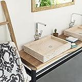wohnfreuden Marmor Waschbecken 60x43 cm ✓ groß eckig Creme ✓ Naturstein Waschplatz Handwaschbecken Steinwaschschale Naturstein-Aufsatzwaschbecken für Ihr Bad ✓ inkl. techn. Zeichnung ✓ schnell