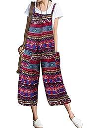 STRIR Boho Mono Petos de Pantalones Casual para Mujer,Verano Lino Baggy Harem Mono Suelto Moda Bolsillos Overoles Jumpsuit Tirantes Playa Fiesta Oficina Pantalón