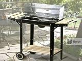 Holzkohlegrill Grillwagen Grill fahrbar Grillfläche 48 x 26 cm 2 Ablagen