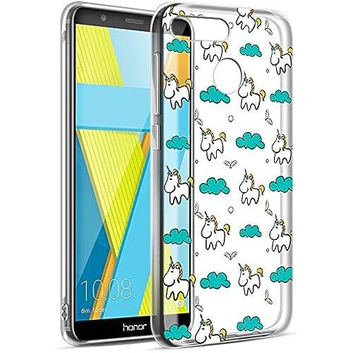 unicornios kawaii Funda Honor 7X, Eouine Cárcasa Silicona Transparente con Dibujos Slim Suave TPU 3d Impresión Patrón Bumper Case Cover Funda para Huawei Honor 7X (Unicornio)