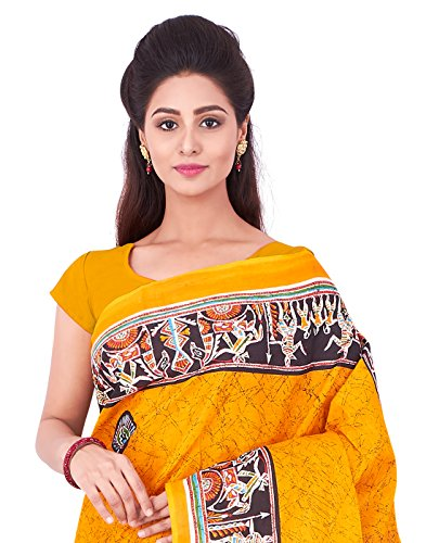 Roopkala Women Pure Cotton Printed Saree (SRS-379,Mustard)