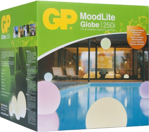 GP Lighting MoodLite Globe 250i, kabellose 250 mm LED-Leuchtstoffkugel mit Induktionsladestation, integriertem Akku und Fernbedienung 810COLOURGLOBE25
