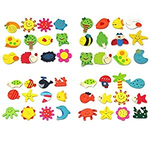 Leegoal Lovely Baby Toy Wooden Cartoon Refrigerator Magnets For Children (Random Color,Set of 12)