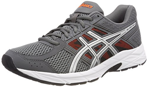 Asics Herren Gel-Contend 4 Laufschuhe, Grau (Carbon/Silver/Shocking Orange 9793), 41.5 EU (Grau-tennis-schuhe Orange Und)