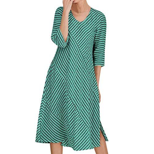 Sonijie Frauen Casual O-Ausschnitt Kleid Streifendruck Splice Halbarm lose Kleid