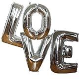LOVE – 102 cm/40 Zoll Buchstaben in Silber Chrome – Folienballon für Luft oder Helium / Heliumballon für Hochzeit, Verlobung, Heiratsantrag, Feier und Jubiläum