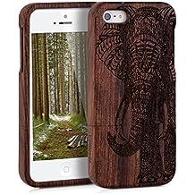 kwmobile Funda para Apple iPhone SE / 5 / 5S - Case protectora de madera palo de rosa - Carcasa dura Diseño estampado elefante en marrón oscuro