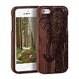 kwmobile Funda para Apple iPhone SE / 5 / 5S - Carcasa de [Madera] para móvil - Case Trasero [Duro] con diseño de Elefante Tallado