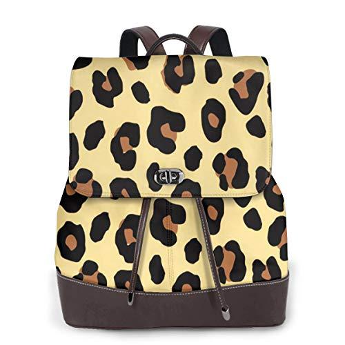 SGSKJ Mochila de Cuero Mujer Bolso Piel de leopardo 78 Estudiante Casual Bolsa La Universidad Bolsa de Viaje de Cuero Mochila Mujer