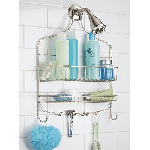 Badezimmer-fliesen Akzente (mDesign Duschablage zum Hängen (breit) - praktisches Duschregal - ohne Bohren zu montieren - Duschkörbe zum Hängen aus Metall für sämtliches Duschzubehör (Shampooflaschen, Rasierer etc.))