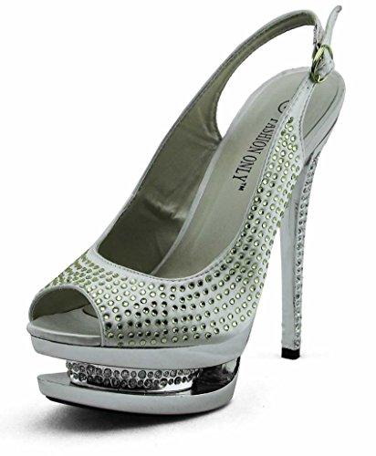 Günstige Schuhe Bestellenz-Frauen-Schuhe Diamante Sandalen Stud Partei Plattform-Stilett-Größe 3-8 Stil 2 - Elfenbein