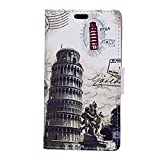 Voguecase® For Sony Xperia X Compact (4.6 inch),(Leaning Tower of Pisa)Slim Fit Protective PU Leather Case Cover with Flip Card Slots + Free Universal Screen-Stylus