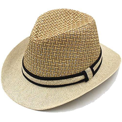Kordelzug Hinten Top (WENYAO Panama Hüte für Männer, Summer Beach-Fedora, Sonnenhüte faltbar, Outdoor Camping 1009 Sonnenhüte (Farbe: Beige))
