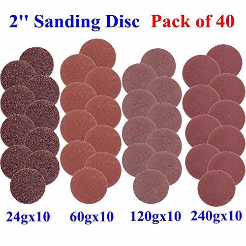 40pcs 2Zoll mit Disc Pad, Hoyoo, durchsichtig, mit mit 40/80/120/240grits Sander Pad mit für die Reinigung und mit mit Werkzeug (Pad 12 Disc Sander)