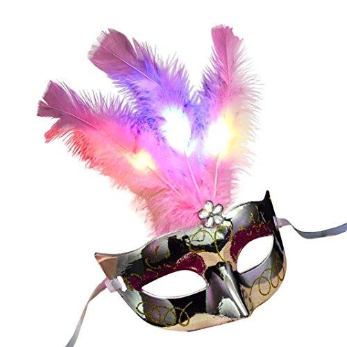 RYSTORE Damen LED Faser Masken Maskerade Fantasie Partei Prinzessin Feder Masken für Halloween Partei (Silber) (Beängstigend Prinzessin Kostüme)