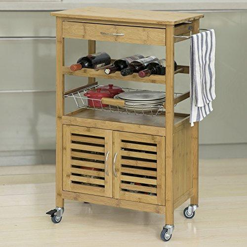 Küchenwagen mit Schublade, Korb und Flaschenablage