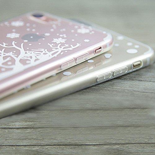 Custodia per iPhone 7 Plus / 8 Plus, Aearl [ Pellicola Protettiva ] Natale Regalo Trasparente TPU Case Cristallo Chiaro Skin Protettiva Cassa Morbido Bumper Cover per iPhone 8 Plus / 7 Plus - Fiocco d Cervo Albero