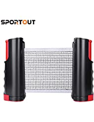 Sportout Retractable Ping Pong Net, Portable Table Tennis Net Rack, Perfect for Ping Pong Table, Office Desk, Home Kitchen or Dining Table