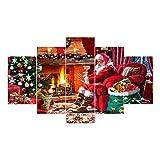 Anyutai 5 Teile/Satz Weihnachten Weihnachtsmann Kamin Druckölgemälde Wandbild Gemälde-> 30 * 40 * 2 + 30 * 60 * 2 + 30 * 80 * 1