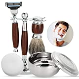 Set da barba per uomo regalo di lusso kit rasoio manuale con pennello di pulizia barba, ciotola, sapone e portaspazzola tradizionale strumento di rasatura dei capelli viso trimmer
