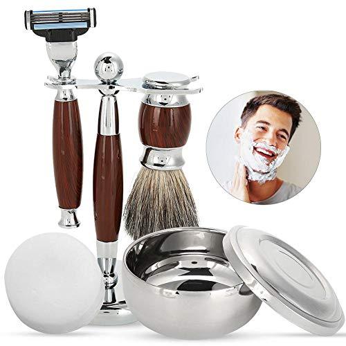 Rasiersets für Männer Geschenk Luxus Manuelle Rasierer Kit mit Bart Reinigungsbürste, Schüssel, Seife und Bürstenhalter Traditionelle Gesichtshaar Trimmer Grooming Tool