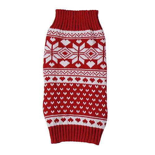 Suéter del animal doméstico de copo de nieve rojo XXS