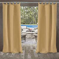 UniEco Outdoor Curtain Garden Patio Balloon Curtains Blackout Curtains Waterproof Mildew Resistant for Pavilion Beach House, 1 Piece, 132x215cm, Sand