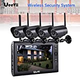 UEEVII Wireless Security WiFi Camera System 7' Monitor Screen LCD CCTV IR Waterproof