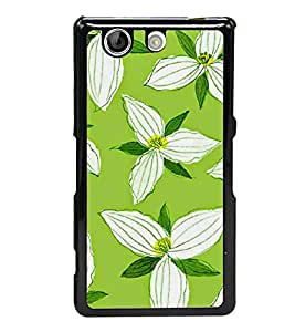 Fuson Designer Back Case Cover for Sony Xperia Z4 Compact :: Sony Xperia Z4 Mini (White Flowers Green Leaves White Triangle flowers Triangle Petals yellow)