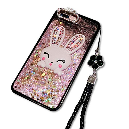 Rosa Flüssig Treibsand Hülle für Galaxy S8 Plus,Diamant Handyhülle für Galaxy S8 Plus,Moiky Luxuriös Süß 3D Karikatur Hase Häschen Dekor Stoßdämpfende Schutzhülle mit Gurt -