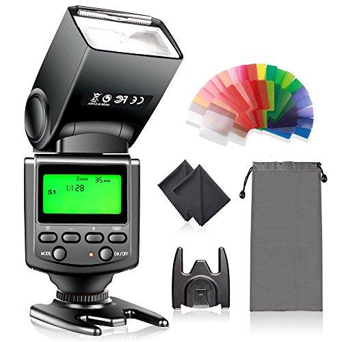 Kamera Blitz mit LCD-Anzeige , FOSITAN Blitzgerät für Canon Nikon Panasonic Olympus Pentax mit Standard-Blitzschuh und Sony Mi Blitzschuh mögen Sony A7 A7S A7SII A7R A7RII A7II A6000 DSLR-Kameras