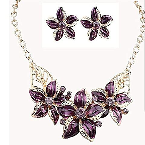 NecklaceWoman Fashion Hot exquisite exaggerated flowers diamond necklace earrings set , purple